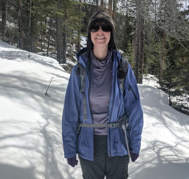 wearing Ridge Merino Aspect High Neck on the trail