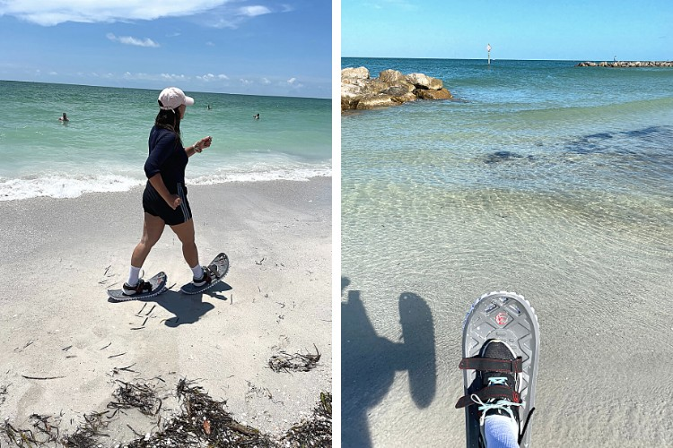 side by side L: woman walking in snowshoes on sand R:snowshoe over water