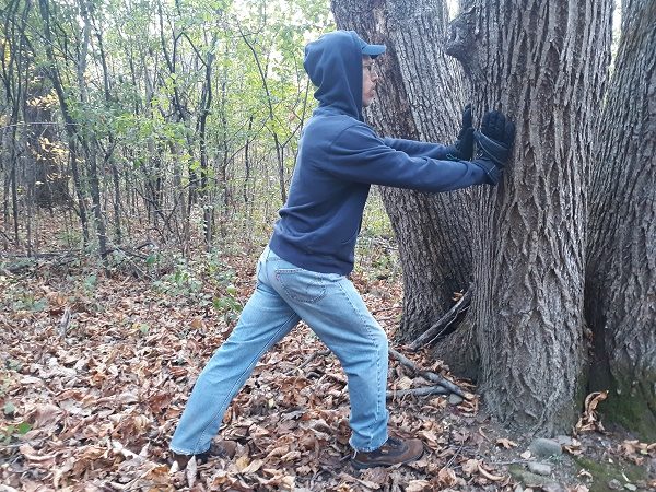 improve ankle mobility: demo of ankle and heel stretch on tree