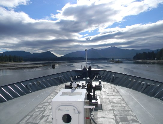 The ferry slowly making it's way through the Wrangell Narrows.