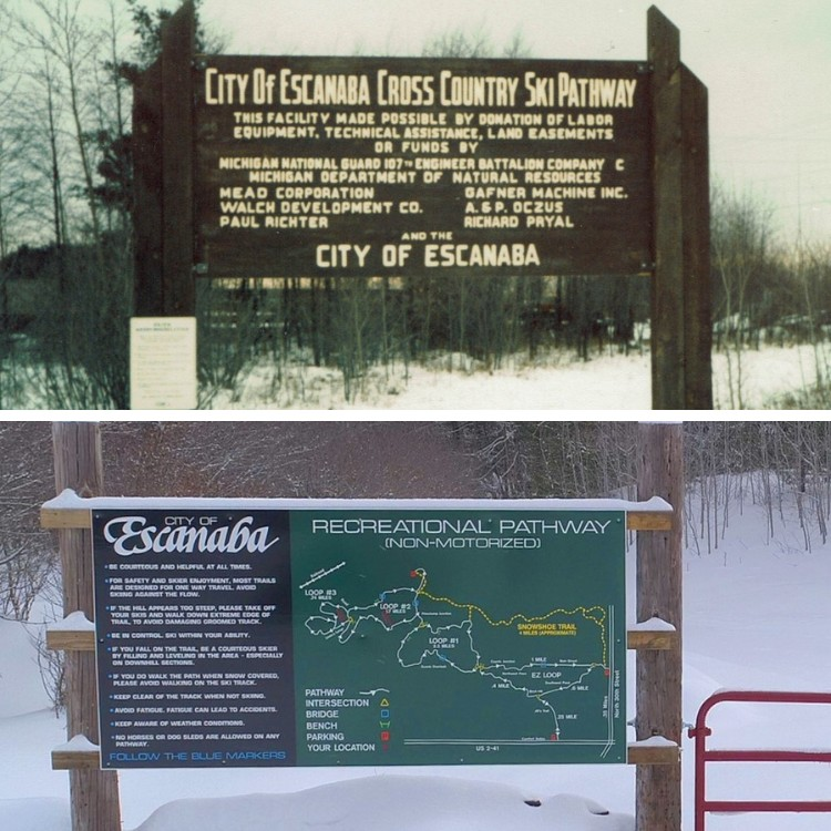 snowshoeing in upper peninsula Michigan: side by side recreation signs for Escanaba Ski Trail 1980s and today