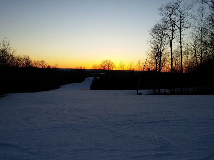 sunset at Snow Valley in Barrie Ontario