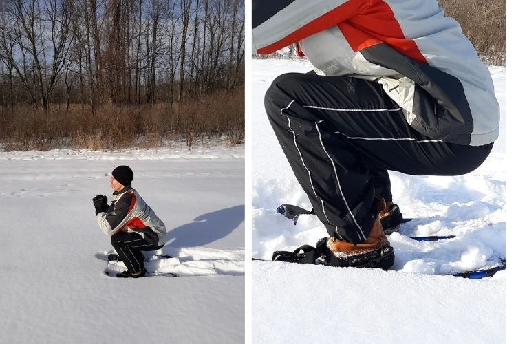 leg exercises without weights: side by side of squat demonstration in snow and close up of legs/knees