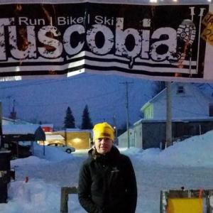 Impressive Beanie at the Finish Tent for Sue Lucas