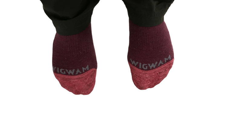close up of Wigwam socks after a snowshoeing outing