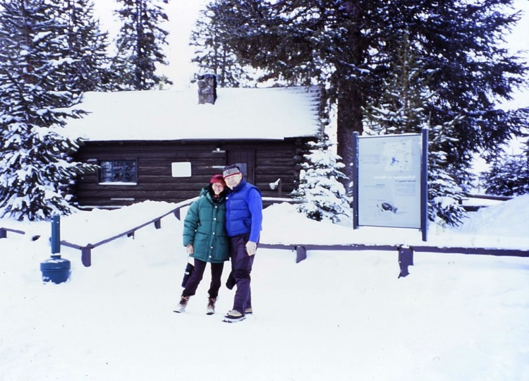 Margaret and Stan in front of Flagg Ranch lodging in Yellowstone