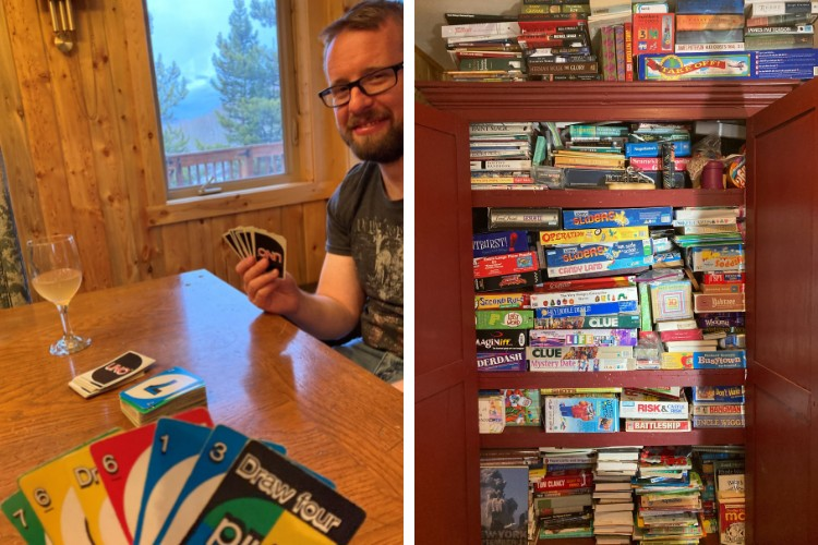 side by side: UNO card game and man at table in cabin with view of Colorado wilderness in background left: stacks of games and books