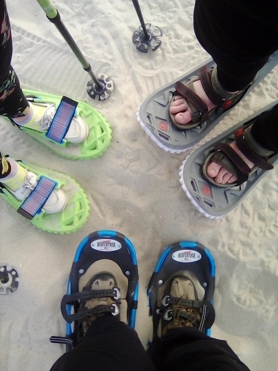 close up of three snowshoes on sand in a circle