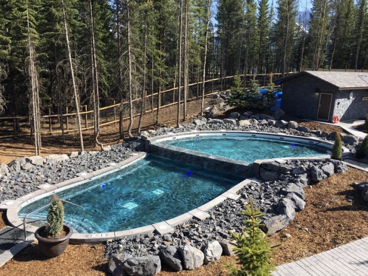 Nordic spa at Pomeroy Kananaskis Mountain Lodge during daylight