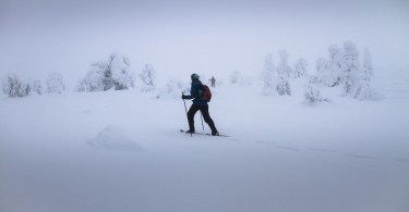 person snowshoeing with poles in snowy conditions