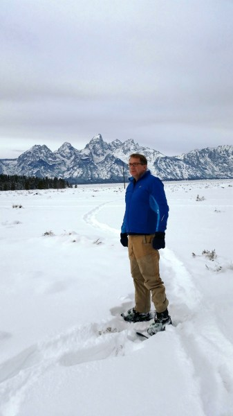 Walking in the Teton mountain range with the Tubbs FLEX RDG snowshoes.