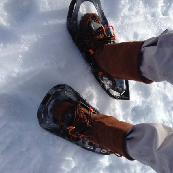 Snowshoeing in Manitobah mukluks.  (Photo by Frank Meek.)