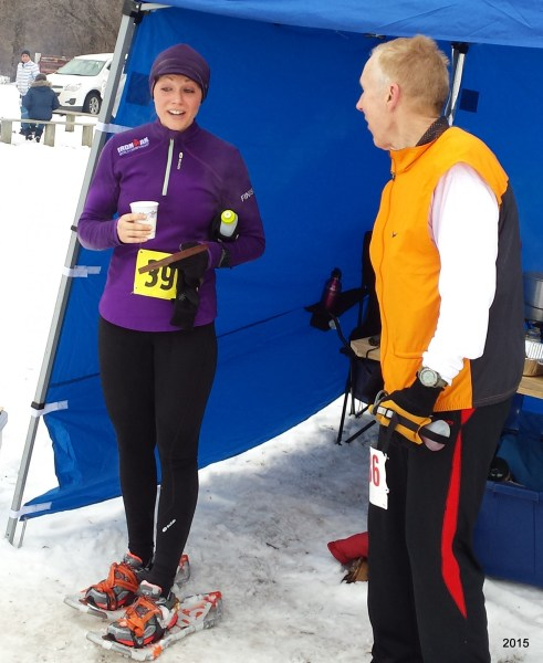 Affable Suzie Fox explains her fun at the inaugural Winteriffic Half, standing just outside the finish-line tent