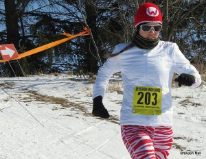Keri Berling, McFarland, waking up the course in Wisconsin red!