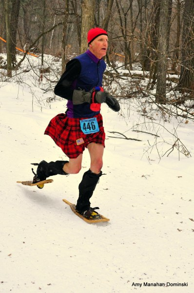 Green Bay's Dave Sykora won a silver age-class medal with his woodies and American-flag-adorned kilt.