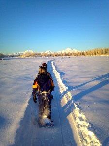 Snowshoers take advantage of wide-open trails near Talkeetna, Alaska