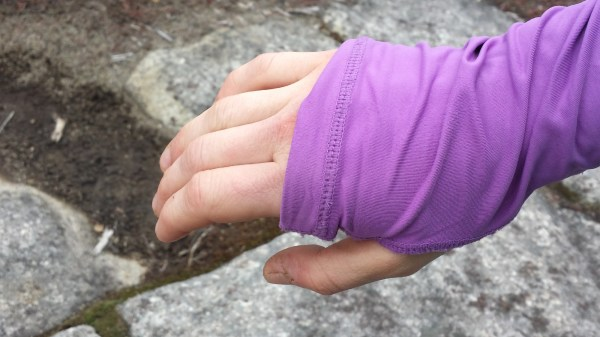 Material covers hands