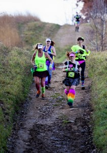 The 80s Girls from North Dakota rocked their hair and wardrobes on their way to a 50 km finish (aka Heather Schlagel, Heather Sailer, Jenny Lettenmaier, and Heidi Williams)
