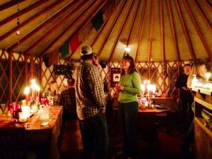 Dinner at the Blue Moon Yurt.