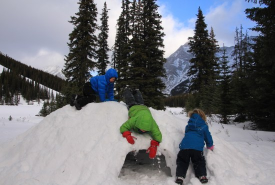 building a snow fort