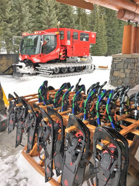 snowcat and snowshoes at Island Lake Lodge, BC