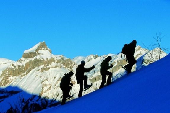 Snowshoeing in central switzerland
