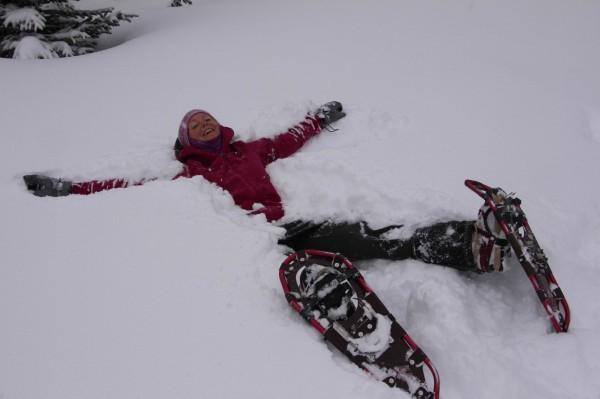 Snowshoeing at Mount Engadine Lodge - no shortage of powder