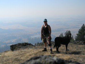 On top of Spud Hill in Idaho. I couldn't do this without the brace on my leg.
