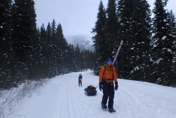 Hiking into the Cameron Lake Hut