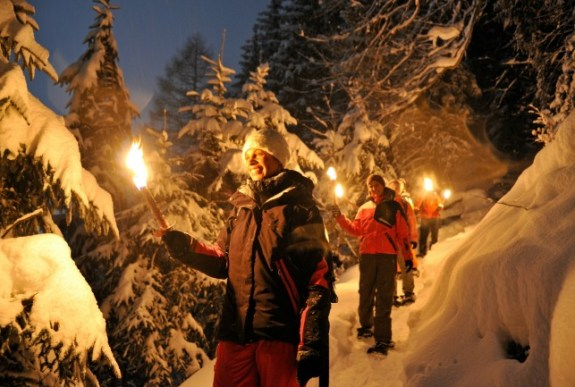 snowshoeing with torches