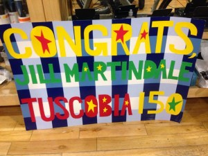 Tuscobia 2015 Jill Martindale celebration sign