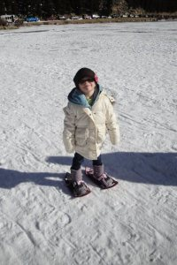toddler snowshoeing