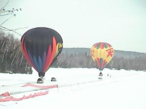 Hot-air balloon rides are a fun and unique way to end a day of snowshoe racing.