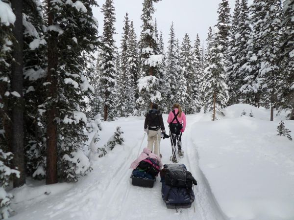 Nicole and Delaney pull two of three sleds in our expedition party.