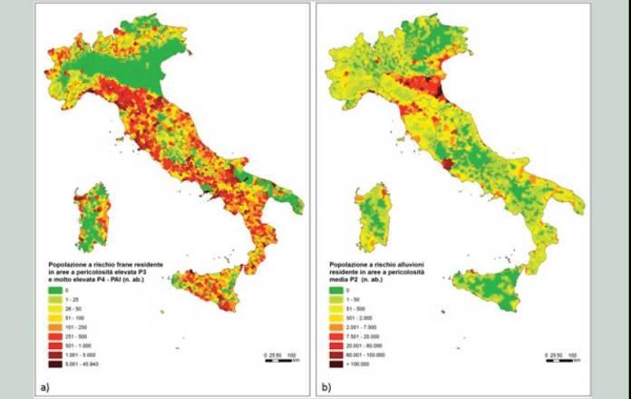 Popolazione a rischio residente in aree a pericolosità da frana elevata P3 e molto elevata P4 PAI su base comunale; b) Popolazione a rischio alluvioni residente in aree a pericolosità media P2 (tempo di ritorno fra 100 e 200 anni) su base comunale