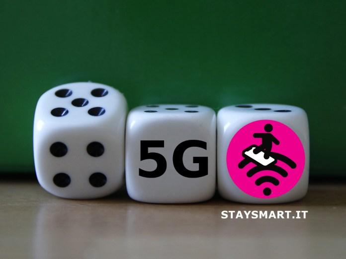 3 dadi con sulle facce visibili i numeri 3,4 e 5, le ultime tre generazioni della telefonia mobile