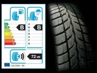 Etichetta UE posta vicino ad uno pneumatico