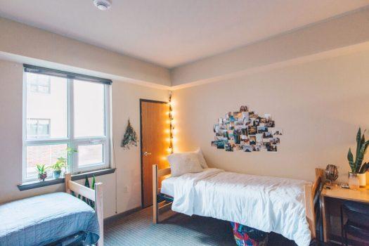 Bedroom inside Hills Dorm