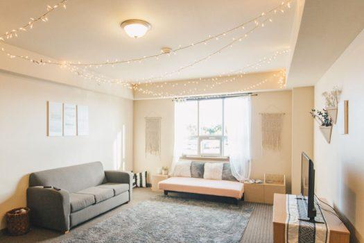 Living area of room in Hills Dorm