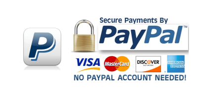 Secure payments by PayPal - No PayPal Account Needed