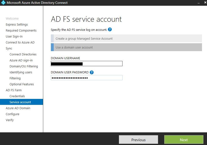 AD FS Service account