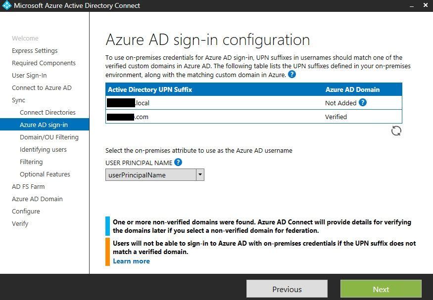 Azure AD sign in config