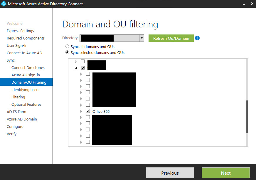 Domain and OU filtering