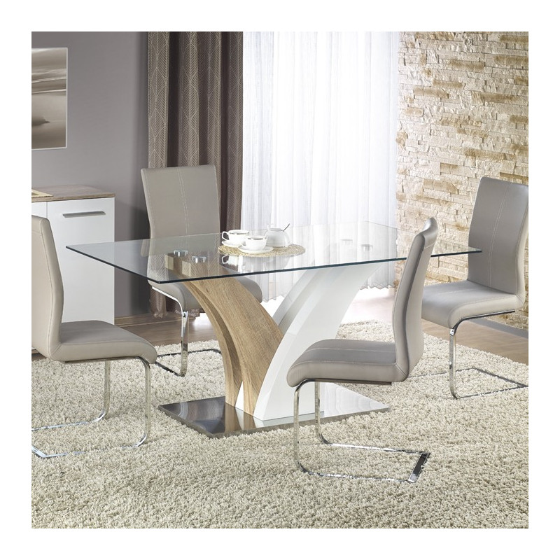 Table de salle  manger blanche et bois Valmo