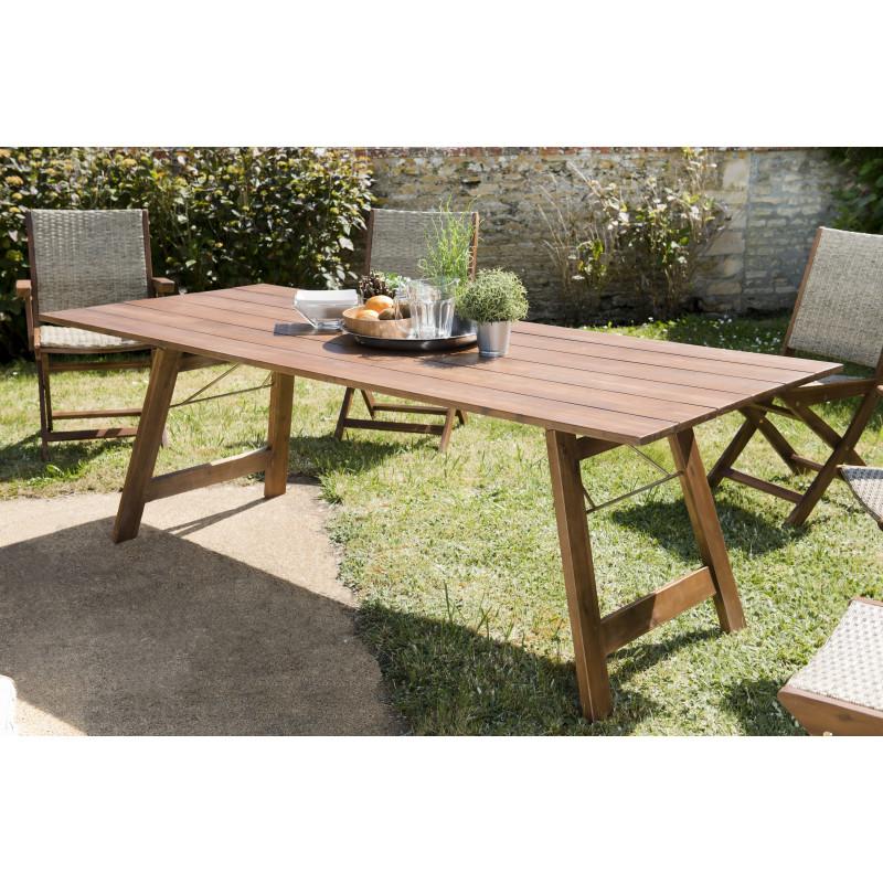 salon de jardin avec table pliante en acacia 4 chaises 2 fauteuils pliants en rotin synthetique marrakech
