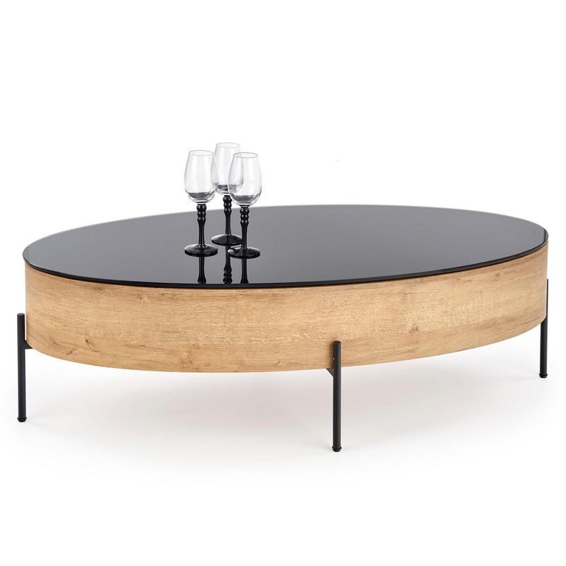 table basse ovale avec plateau pivotant 120x60cm aspect chene dore et verre noir elios
