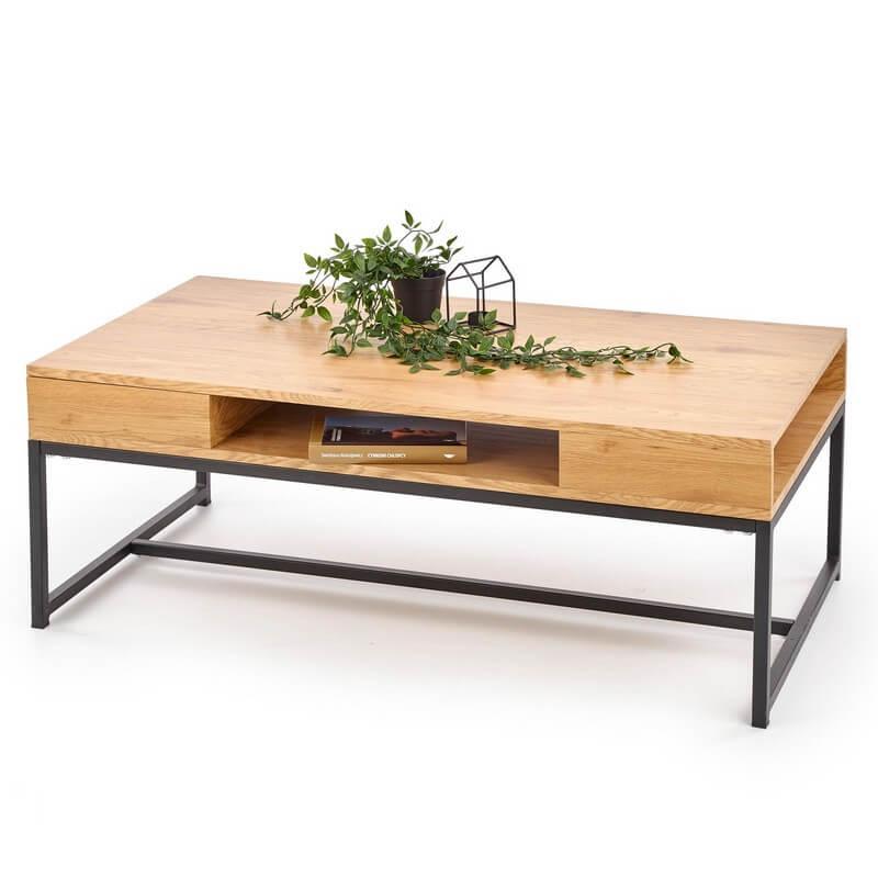 table basse avec niches de rangement aspect chene dore et acier noir nordic