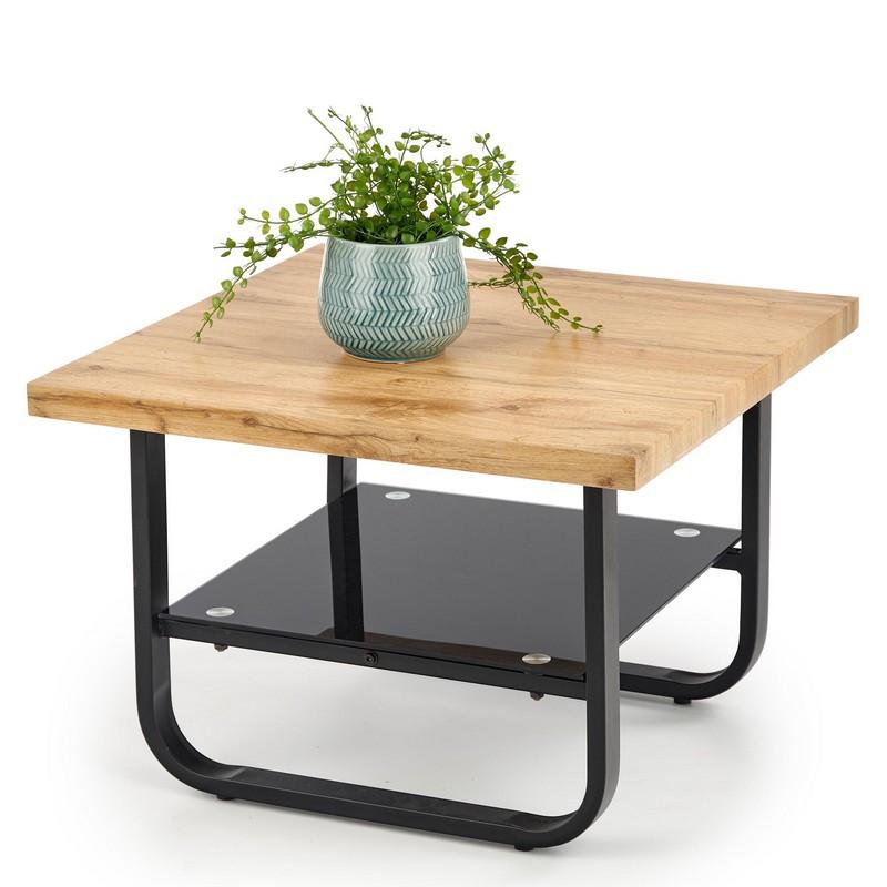 table basse carree avec plateau aspect chene pied metal et etagere en verre grimm