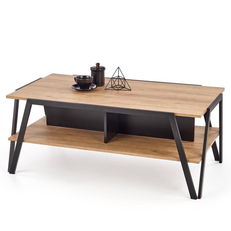table basse rectangulaire design aspect chene et pieds metal noir walt