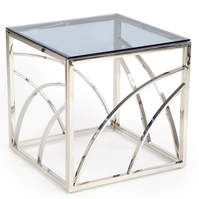 table basse carree avec structure design en acier argente et plateau en verre fume sochic